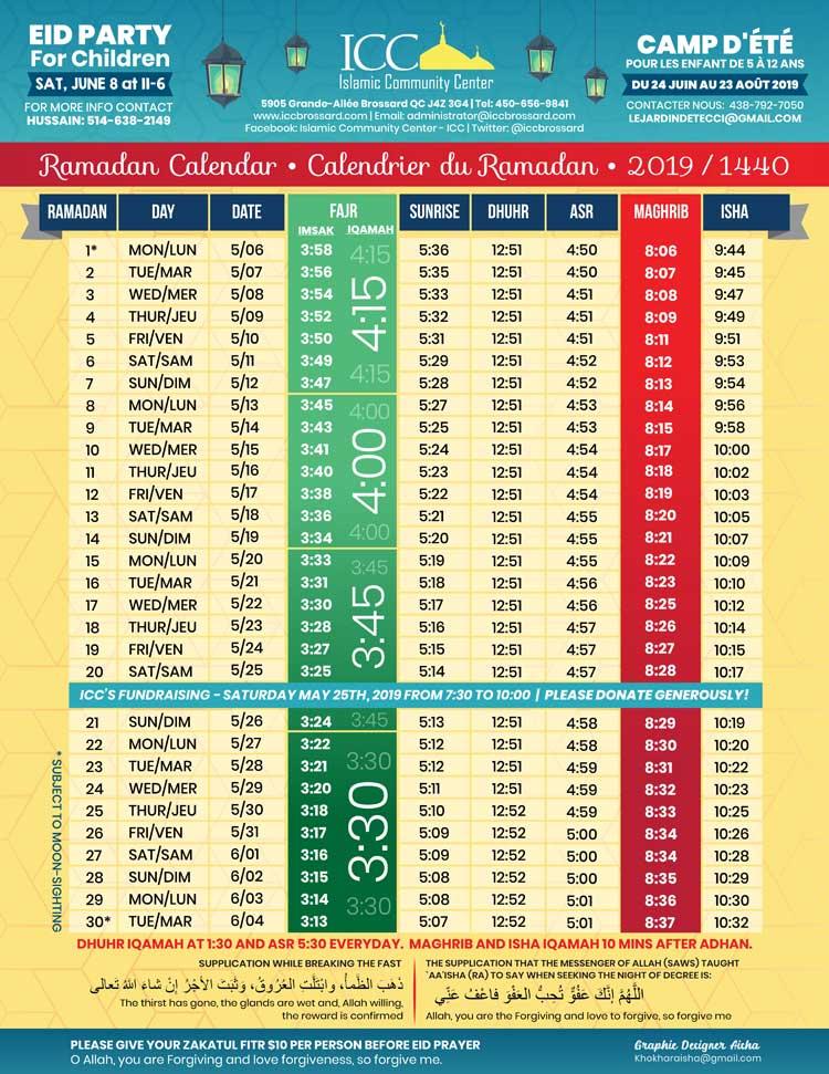 Ramadan 2019 Calender – Masjid